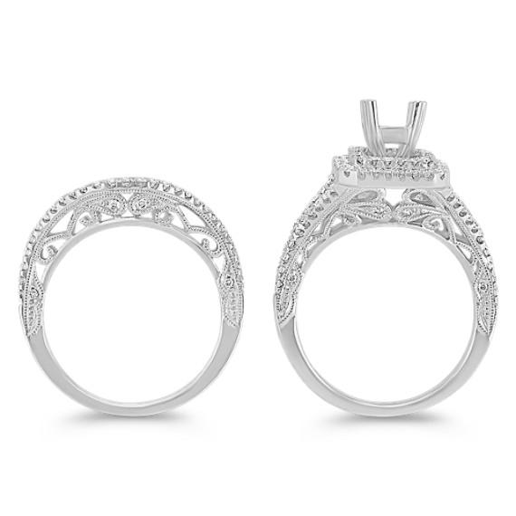 Double Diamond Halo and Split Shank Wedding Set