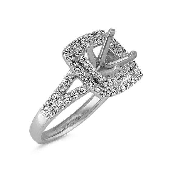Double Halo and Split Shank Pav´-Set Diamond Engagement Ring