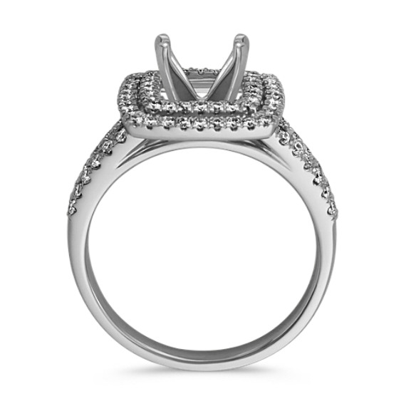 Double Halo and Split Shank Pavé-Set Diamond Engagement Ring