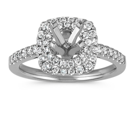 Double Halo Diamond Platinum Engagement Ring with Pavé Setting
