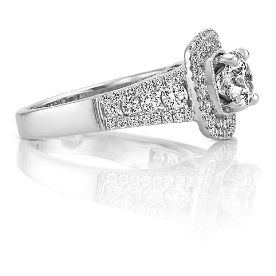 Double Halo Multi-Size Round Diamond Engagement Ring
