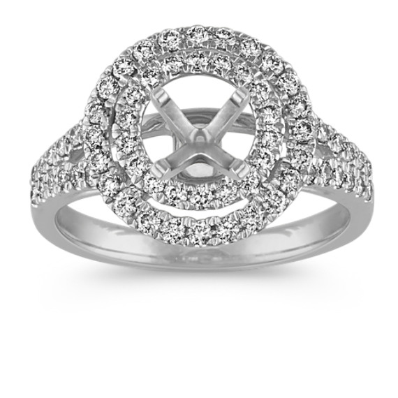 Double Round Halo Diamond Engagement Ring