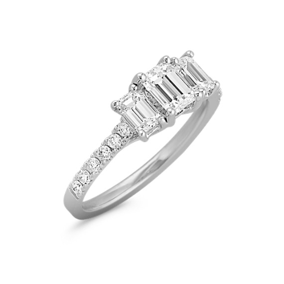 Emerald Cut and Round Diamond Three-Stone Ring