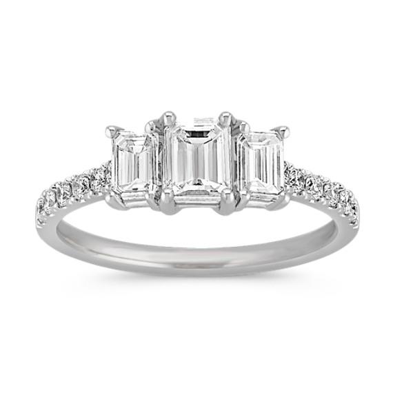 Emerald Cut and Round Diamond Three-Stone Ring