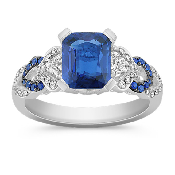 Emerald Cut and Round Sapphire, Trillion and Round Diamond Ring