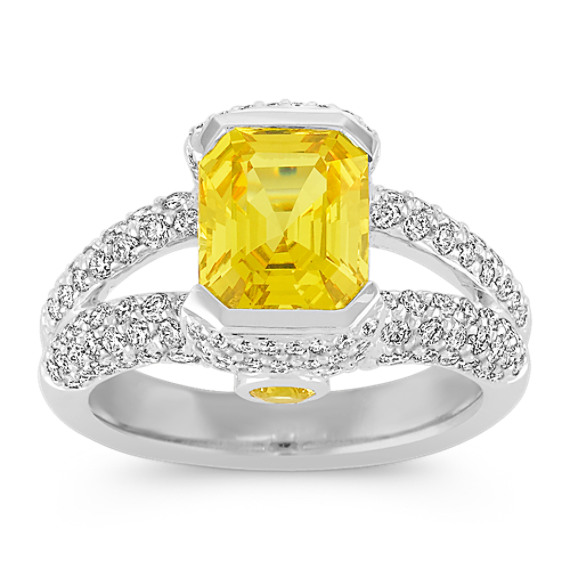 Emerald Cut and Round Yellow Sapphire and Diamond Ring