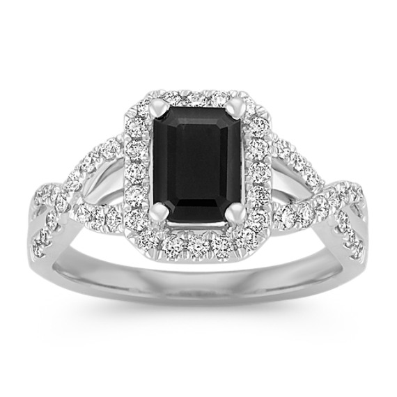 Emerald Cut Black Sapphire and Diamond Ring