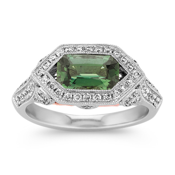 Emerald Cut Green Sapphire and Diamond Ring in 14k White and Rose Gold