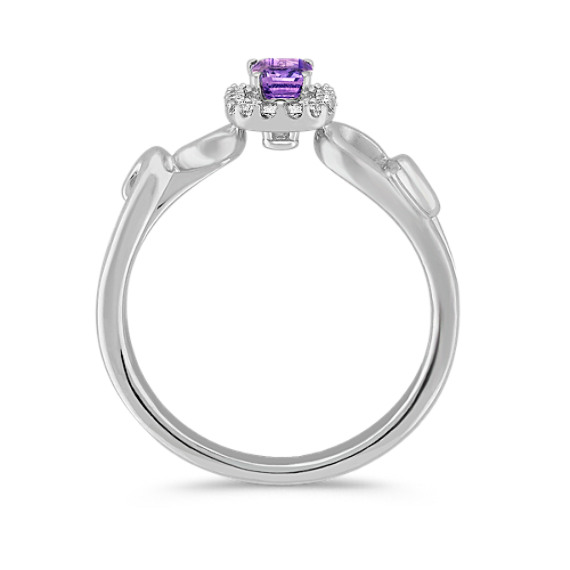 Emerald Cut Lavender Sapphire and Round Diamond Ring in 14k White Gold
