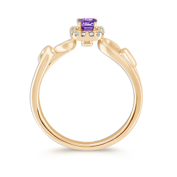 Emerald Cut Lavender Sapphire and Round Diamond Ring in 14k Yellow Gold