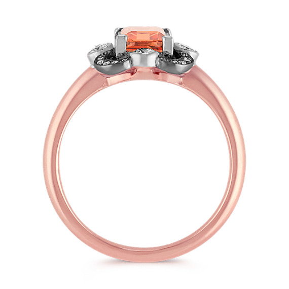Emerald Cut Peach Sapphire and Round Diamond Ring in 14k Rose and White Gold