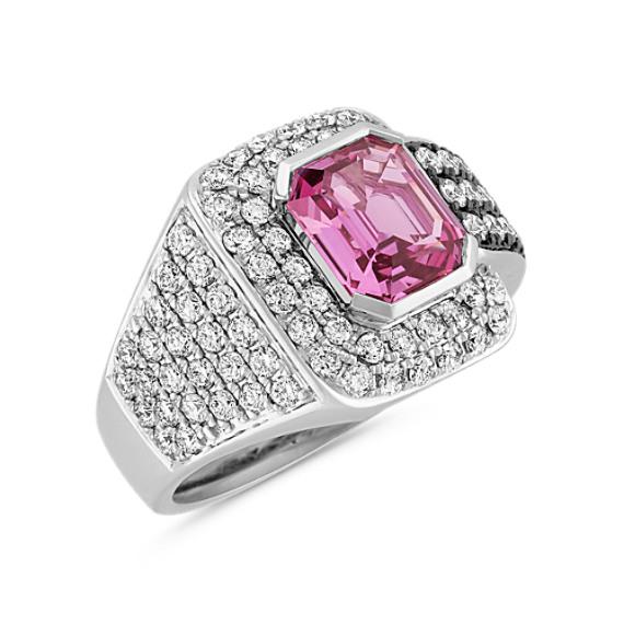 Emerald Cut Pink Sapphire and Diamond Ring with Black Rhodium