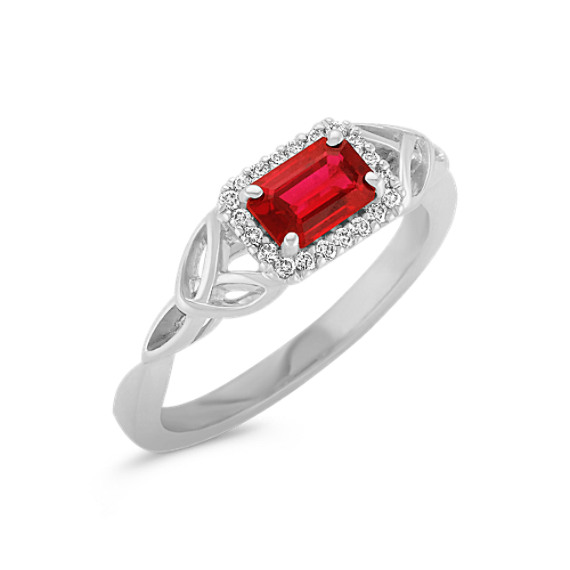 Emerald Cut Ruby and Round Diamond Ring