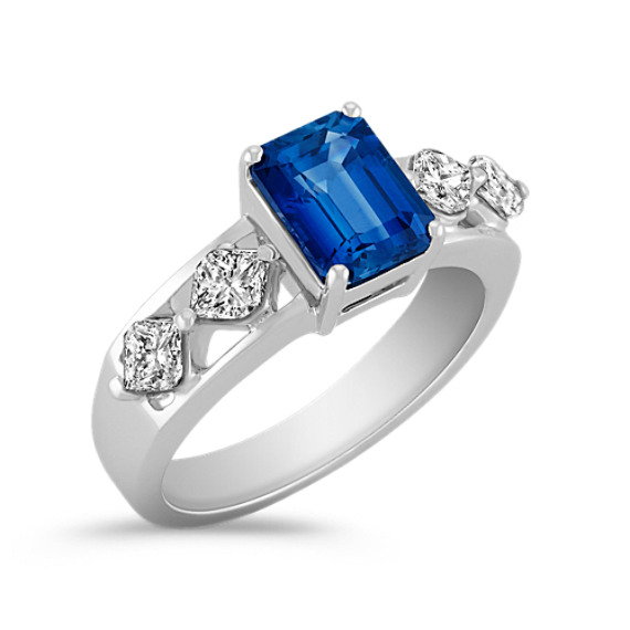 Emerald Cut Sapphire and Calla Cut Diamond Ring