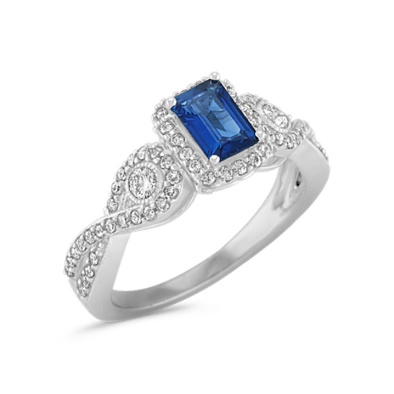 Emerald Cut Sapphire and Round Diamond Ring