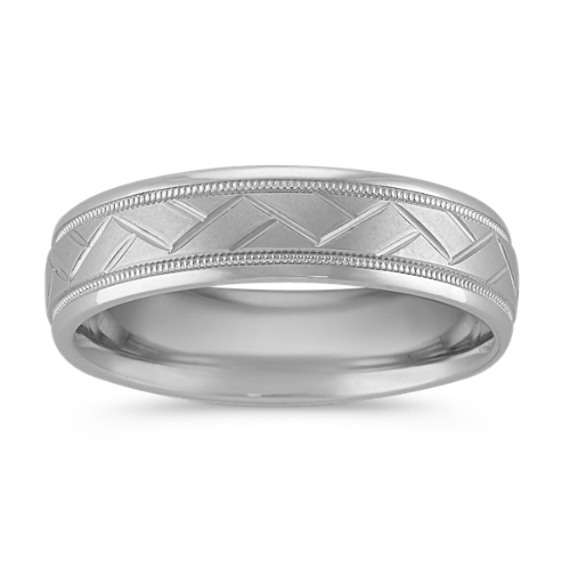 Engraved 14k White Gold Comfort Fit Band (6mm)