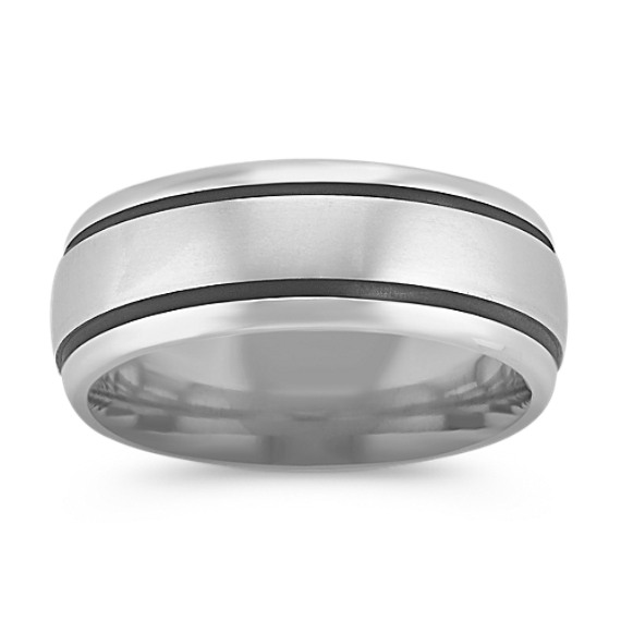 Engraved 14k White Gold Comfort Fit Ring with Satin Finish (8mm)