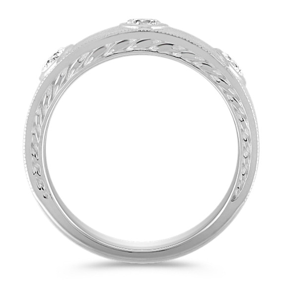 Engraved Bezel Set Diamond Ring