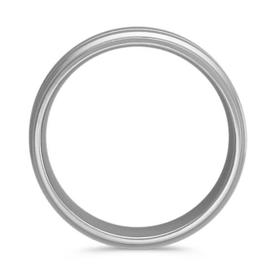 Engraved Comfort Fit Band with Satin Finish in 14k White Gold (8mm)
