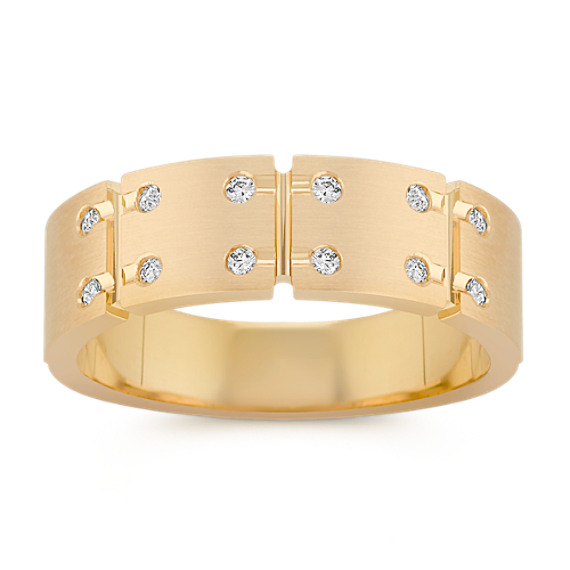 Engraved Diamond Ring with Bezel Setting