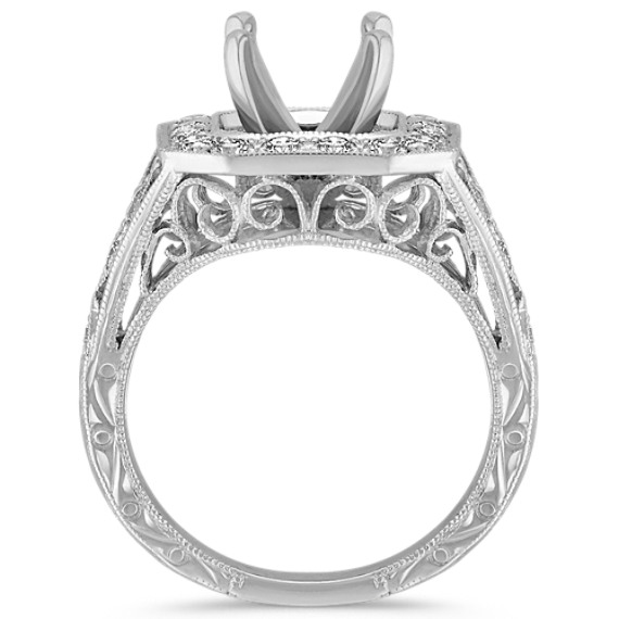 Engraved Halo Vintage Pavé-Set Round Diamond Engagement Ring