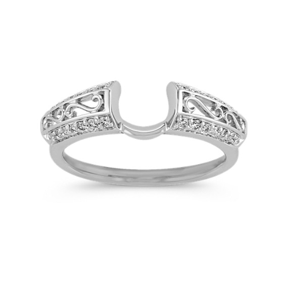 Engraved Pavé-Set Round Diamond Solitaire Engagement Ring Wrap