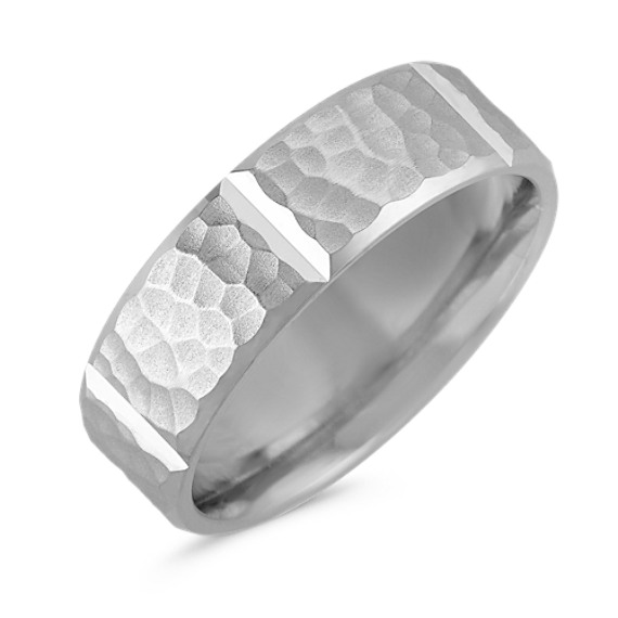 Engraved Ring in 14k White Gold with Hammered Finish (7MM)