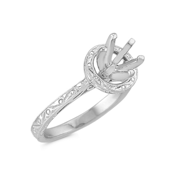 Engraved Round Halo Engagement Ring in 14k White Gold