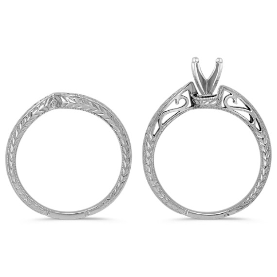 Engraved Swirl White Gold Wedding Set