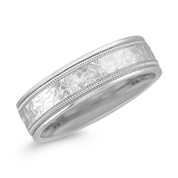 Engraved Texture 14k White Gold Wedding Band (6mm)