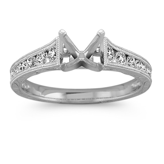 Engraved Vintage Cathedral Round Diamond Engagement Ring with Pavé Setting