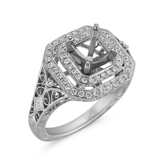 Engraved Vintage Diamond Double Square Halo Engagement Ring with Pavé Setting