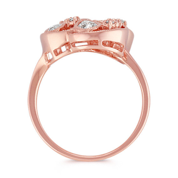 Fancy Shape and Round Diamond Ring in 14k Rose Gold