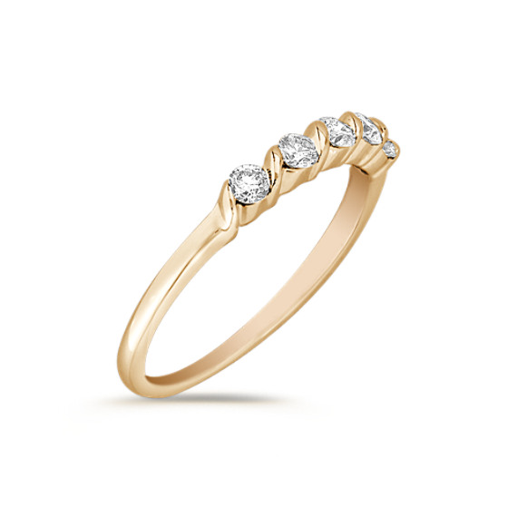 Five-Stone Diamond Channel Set Wedding Band in 14k Yellow Gold