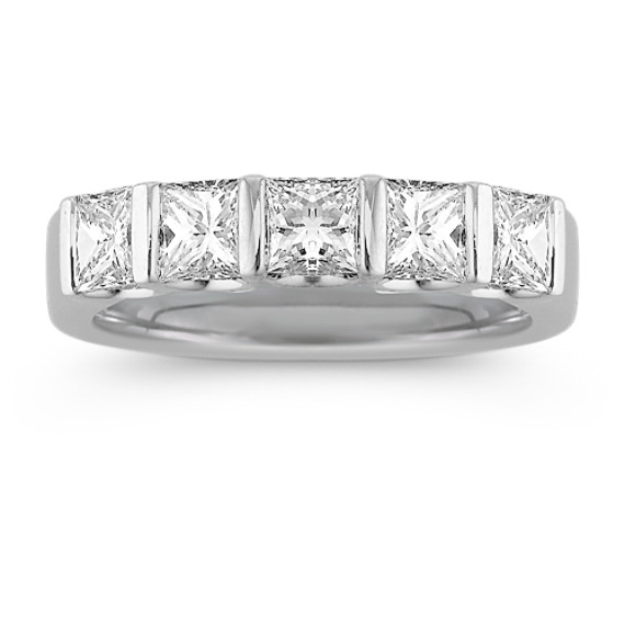 Five-Stone Princess Cut Diamond Anniversary Band with Channel-Setting