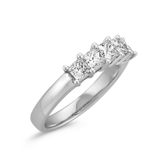 Five Stone Princess Cut Diamond Wedding Band