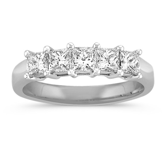 Five Stone Princess Cut Diamond Wedding Band