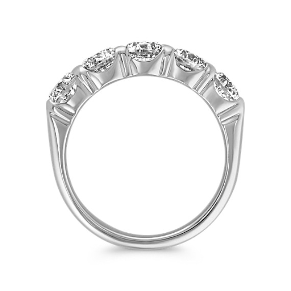 Five Stone Round Diamond Wedding Band in White Gold - 2 ct. t.w.