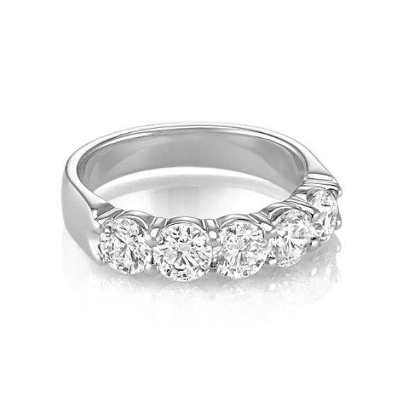 Five Stone Round Diamond Wedding Band in White Gold