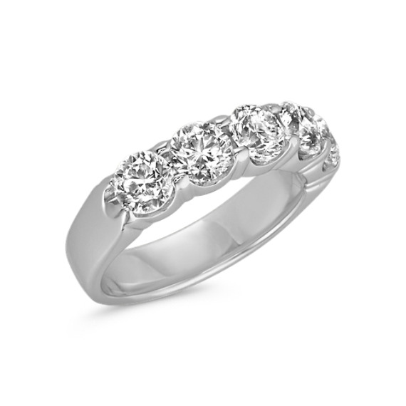 Five Stone Round Diamond Wedding Band in White Gold