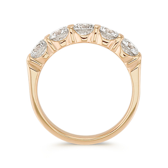 Five Stone Round Diamond Wedding Band