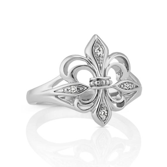 Fleur De Lis Ring with Round Diamond Accent