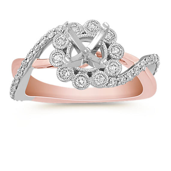 Floral Round Diamond Ring in 14k White and Rose Gold