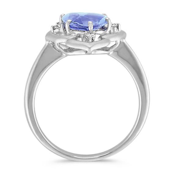 Freeform Blue Sapphire and Round Diamond Ring