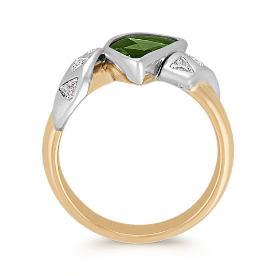 Freeform Green Sapphire and Trillion Diamond Ring in Two-Tone Gold