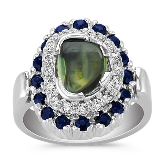 Freeform Green Sapphire, Round Midnight Blue Sapphire and Diamond Ring