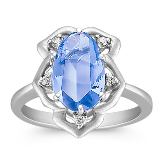 Freeform Ice Blue Sapphire and Round Diamond Ring