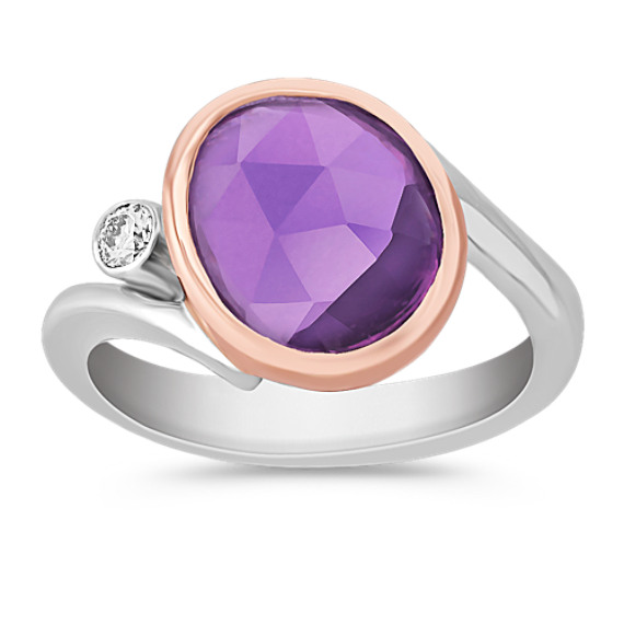 Freeform Lavender Sapphire and Round Diamond Ring in 14k Rose and White Gold