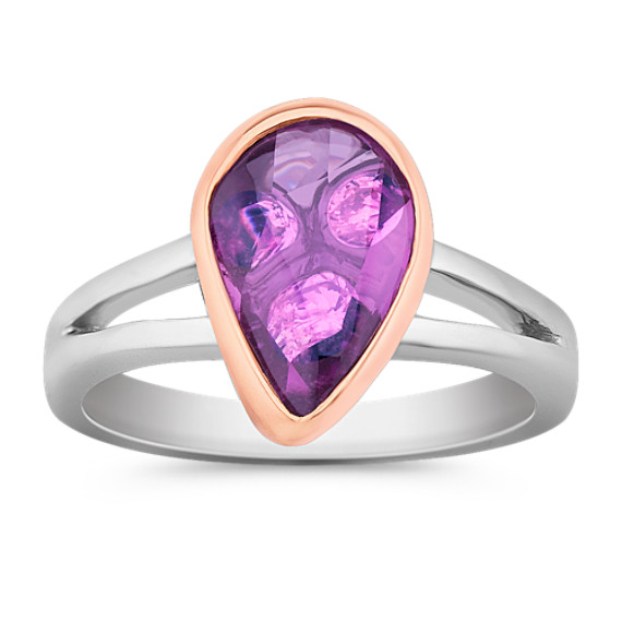 Freeform Lavender Sapphire and Round Diamond Ring in White and Rose Gold
