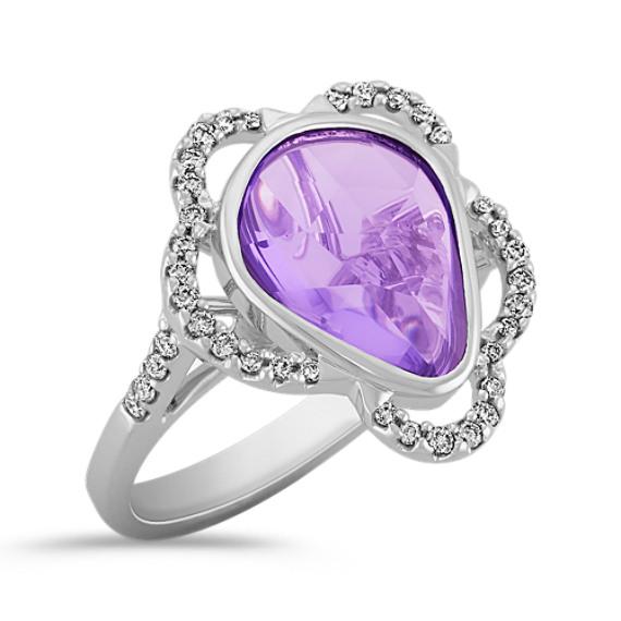 Freeform Lavender Sapphire and Round Diamond Ring